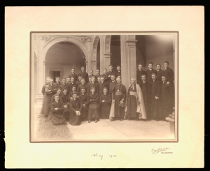 Group photograph of seminarians of the Irish College, Salamanca with rector Rev Denis J O'Doherty and a visiting Archbishop. May 1930