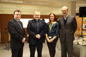 Launch of the Salamanca Archive exhibition and Online Catalogue. From left to right Cathal McCauley (University Librarian, Maynooth University), Rev Monsg Hugh Connolly (President, St Patrick's College), Susan Leyden (Archivist, St Patrick's College), Ambassador of Spain Javier Garrigues Florez.