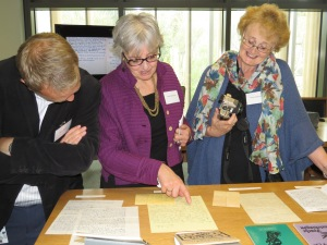 Conference delegates viewing material from the Pearse Hutchinson Archive