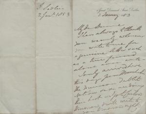 PP/18/5 Letter from John Sadleir, 5 Great Denmark Street, Dublin to Michael Dunne. 2 January 1853