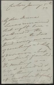 PP/18/6 Letter John Sadleir, to Michael Dunne. 5 January 1853