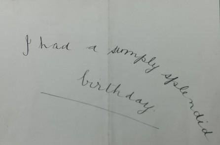 Jens' birthday note