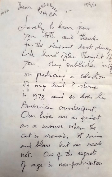 Sean O Faolain letter to Brazil