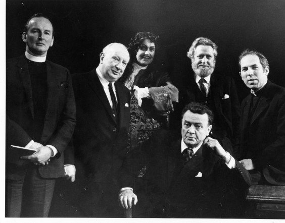 Photograph of Group including Forristal Edwards and MacLiammoir at Gate Theatre 1972